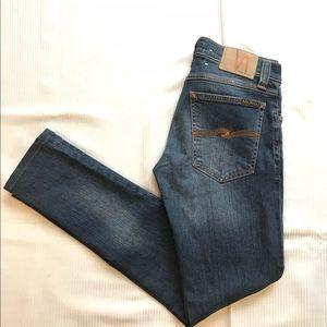 Nudie Tight Long John Worn Shady Slim Skinny Jean
